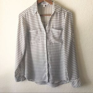 Express Portofino Shirt Windowpane Black White XS